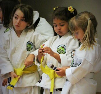 young karate students